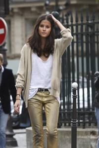 gold metallic party jeans